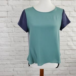 41 Hawthorn Silk Colorblock Top Hi Low Hem Zipper